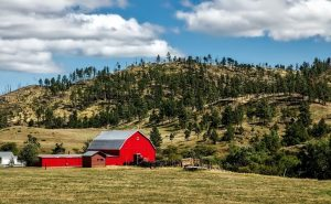 Red house in a ranch property
