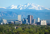 denver colorado city skyline skyscrapers mountains