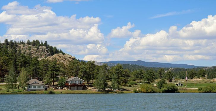 red feather lakes colorado cabins mountains blue skies and white clouds